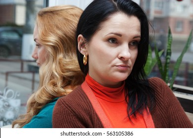 adult beautiful girlfriend offended in cafe