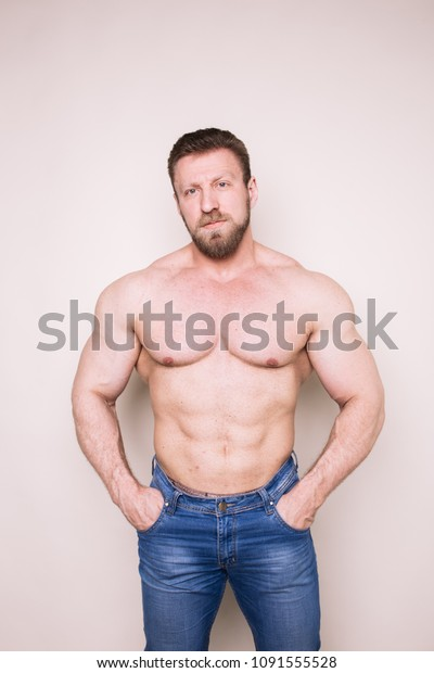 Adult Brutal Bodybuilder Stylish Hairstyle Thick Stock Photo
