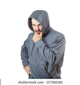 Adult caucasian man in hooded sweatshirt isolated on white background.