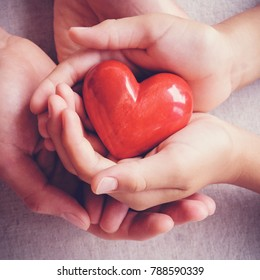 adult and child hands holding red heart, health care, love, donate, insurance and family concept