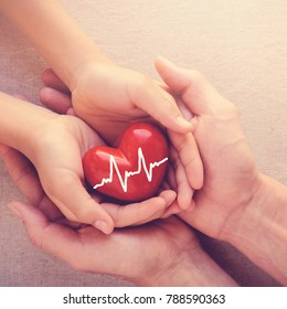adult and child hands holding red heart, health care, organ donation and family insurance concept