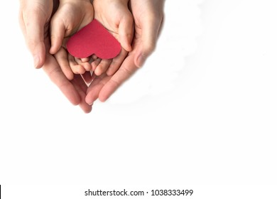 adult and childs hands holding red heart in hands isolated on white background copy space room for text. Valentines day Mothers Day Love and health care Family insurance Top view. World health day.