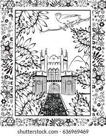 Adult coloring in page. Castle scene with bird and floral design.