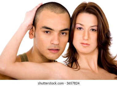 adult couple hugging over a white background