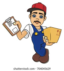 adult courier man with box and blank stand and watch
