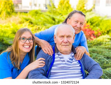 Adult daughter visiting crippled father at the nursing home.