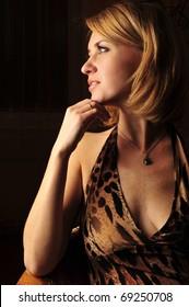 Adult dreaming woman beauty portrait