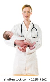 Adult female pediatrician wearing a white coat and a stethoscope and holding a newborn baby in her arms, isolated against a white background.
