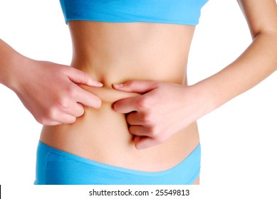 Adult female pinching skin on the waist for test - Health eating concept