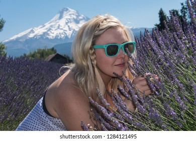 An adult female sniffs wild lavender flowers in Oregon. Selective focus for artistic purposes.