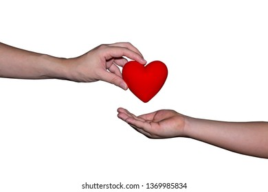 Adult give red heart ball to children on white isolated background.Valentine and Medical health care concept.