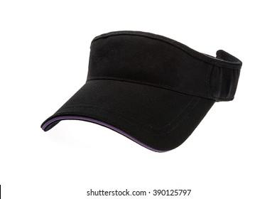 Adult golf black visor on white background