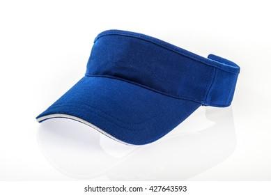 Adult golf blue visor on white background