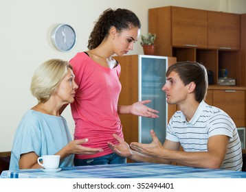 Adult guy having scandal with wife and mother-in-law
