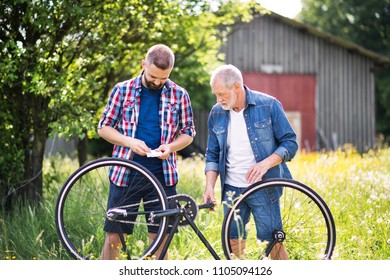 An adult hipster son and senior father repairing bicycle puncture n a sunny day.