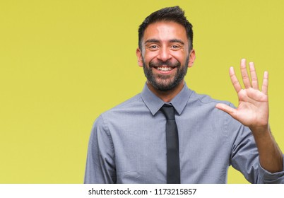 Adult hispanic business man over isolated background showing and pointing up with fingers number five while smiling confident and happy.