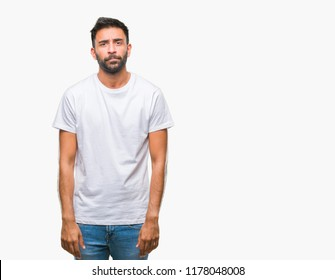 Adult hispanic man over isolated background depressed and worry for distress, crying angry and afraid. Sad expression.