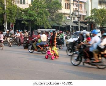 Adult & Kids crossing junction. 2of4. Mandalay, Myanmar, (Burma)