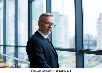 Adult male businessman, teacher, mentor looks out the large window of his office. Work in the office. Development of a new business project