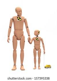 Adult Male Crash Test Dummy with Child Dummy isolated