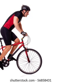 Adult male cyclist. Studio shot over white.