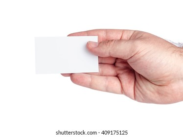 adult male hand holding a business card on white background, text, concept