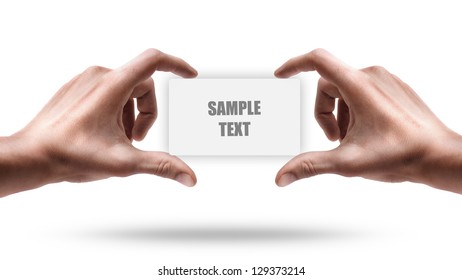Adult male hands shows empty card isolated on white background. High resolution
