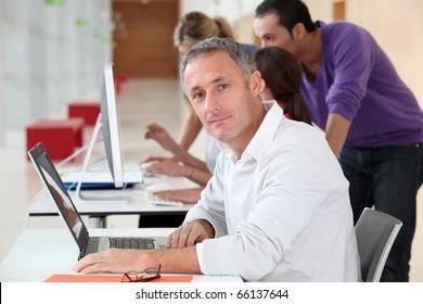 Adult man attending business training