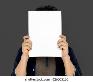 Adult Man Face Covered Paper Portrait Copy Space