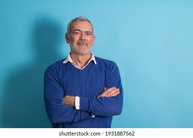adult man with gray hair isolated on background