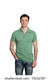 Adult man with green shirt standing on white background