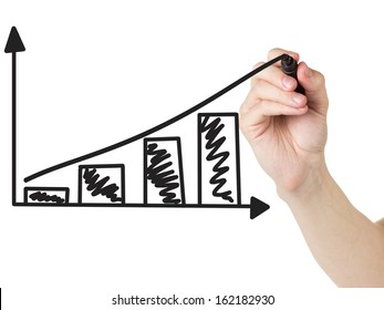 adult man hand draw a graph with positive dynamics, isolated