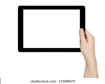 adult man hand holding generic tablet pc with white screen, isolated on white