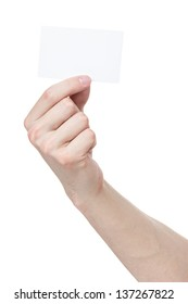 adult man hand holding white visiting card, isolated on white