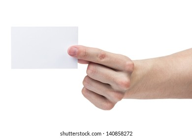 adult man hand shows blank visiting card, isolated on white