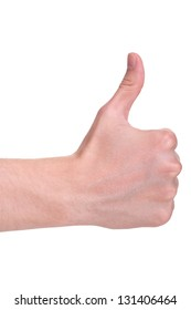 adult man hand thumb up, isolated on white background