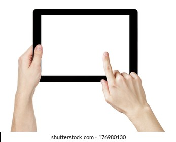 adult man hands using generic tablet pc with white screen, isolated on white