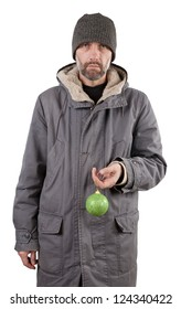 adult man holding ball isolated on white