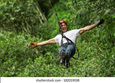 Adult Man On Zip Line Ecuadorian Andes
