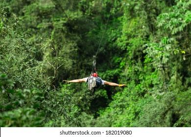 Adult Man On Zip Line Superman Position