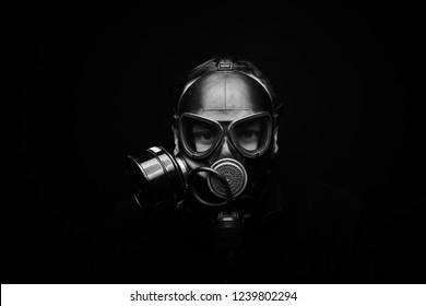 adult man portrait, chemical respirator