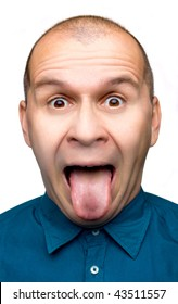 Adult man sticking tongue out isolated on white background