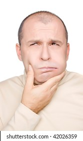 Adult man with toothache isolated on white background
