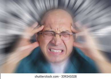 Adult man under pressure and severe stress. Stress subjects spinning nervously around man's head