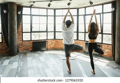 Adult man and woman practicing yoga, Vrikshasana, Tree pose