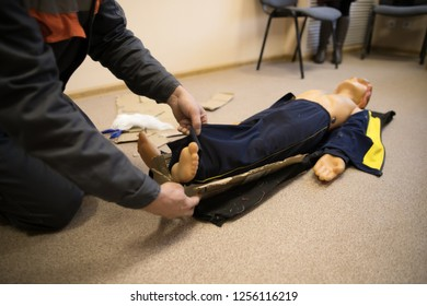 Adult Manikin CPR Training. First Aid CPR Training Chest Compression on CPR Training Manikin Dummy for Help People who Heart Failure and Senseless in Emergency.