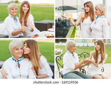adult mother and daughter happy