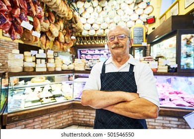 adult seller portrait in butcher store