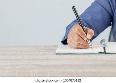 Adult student university study in class and hand note lecture in open notebook for exam. Adults education is practice in engage systematic, sustained self-educating activities in new knowledge skills