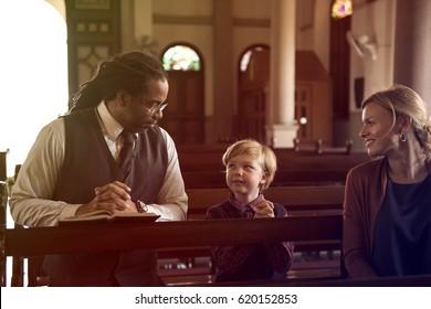 Adult Teach Kid Pray Church Religion